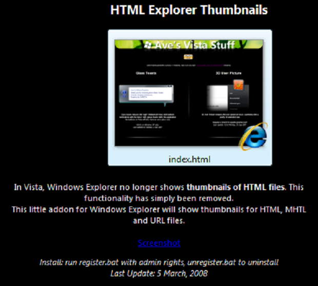 Thumbnails für -HTML-Dateien im Windows Explorer (Windows 7)