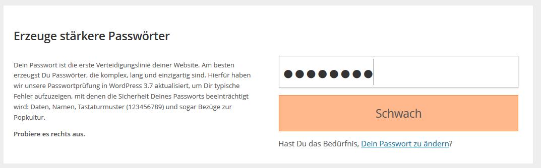 WordPress 3.7 jetzt mit Passworthilfe