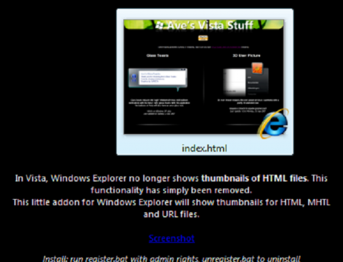 Thumbnails für -HTML-Dateien im Windows Explorer (Windows 7)